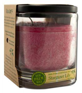 Aloha Bay Palm Wax Candles - Ecopalm Square Jar Stargazer Lily Ruby 8 oz