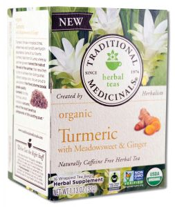 Traditional Medicinals - Organic Tea (16 Bags Per Box) TURMERIC with Meadowsweet and Ginger 16 ct