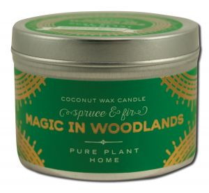 Pure Plant Home - Coconut Wax HOLIDAY Candle Silver Tin Magic In Woodlands Spruce\/Fir 3 oz