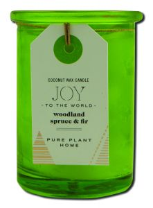 Pure Plant Home - Coconut Wax HOLIDAY Candle Recycled Lime Green Glass Joy To The World Spruce\/Fir