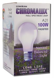 Lumiram Electric Corporation - Chromalux Pure Natural LIGHT Standard BULB 100w Frosted